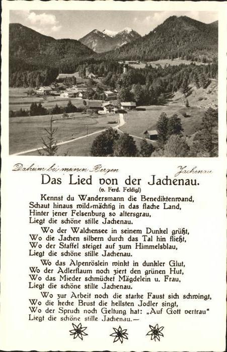 Jachenau Panorama Jachenau Liedtext Kat. Jachenau