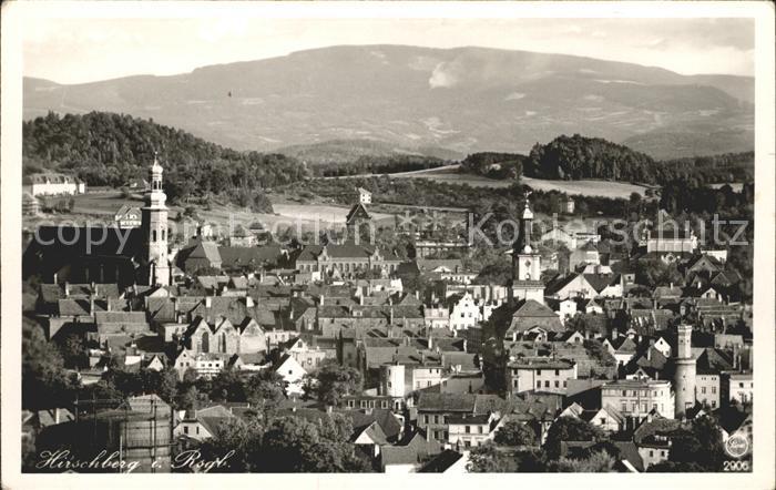Hirschberg Jelenia Gora Ortsansicht mit Kirche Riesengebirge / Jelenia Gora /