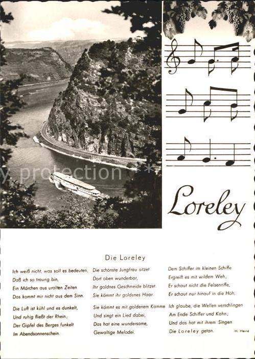 Loreley Lorelei Rhein Dampfer Felsen Noten Gedicht Heinrich Heine Kat Sankt Goarshausen