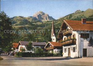 Bayrischzell mit Wendelstein Dorfpartie mit Rathaus Kat. Bayrischzell