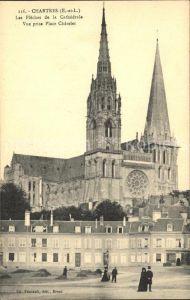 Chartres Eure et Loir Les Fleches de la Cathedrale Vue prise Place Catelet Kat. Chartres