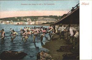 Napoli Neapel Pescatori che tirano le reti a Via Caracciolo Kat. Napoli