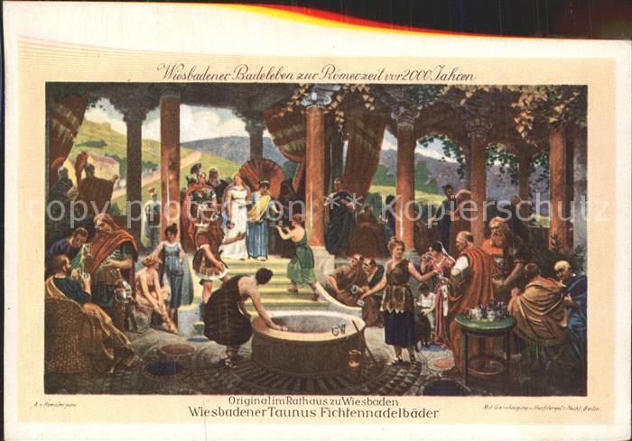 Wiesbaden Wiesbadener Taunus Fichtennadelbaeder Original Gemaelde im Rathaus Kat. Wiesbaden