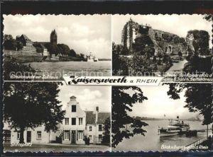 Kaiserswerth Rheinansicht Zollhaus Ruine Kaiserpfalz Stiftsplatz Dampfer Kat. Duesseldorf
