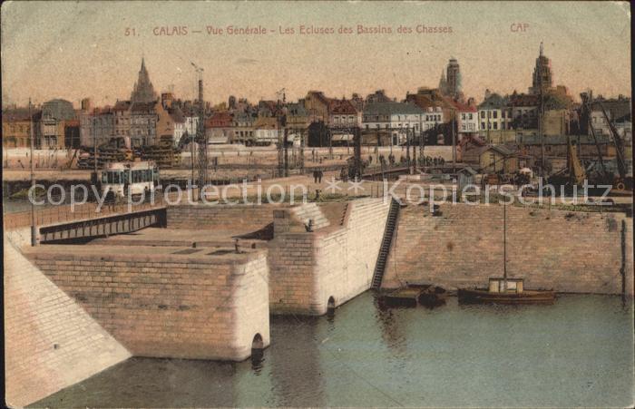 Calais Vue generale Ecluses des Bassins des Chasses Kat. Calais