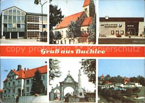 Buchloe Teilansichten Kirche Bahnhof Gaststaette Schwimmbad Kat. Buchloe
