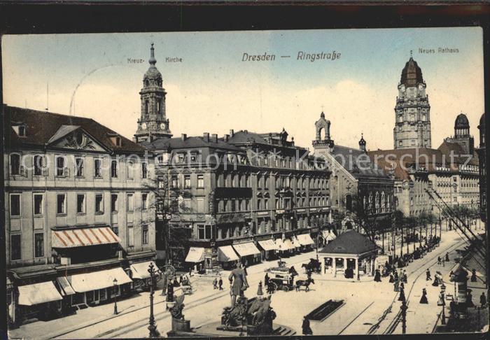 Dresden Ringstrasse Denkmal Kreuzkirche Neues Rathaus Kat. Dresden Elbe