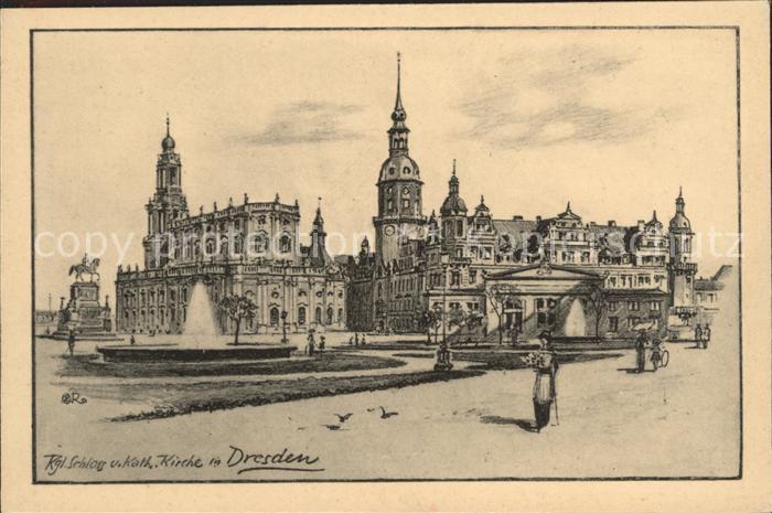 Dresden Koenigliches Schloss und katholische Kirche Fontaene Denkmal Kat. Dresden Elbe
