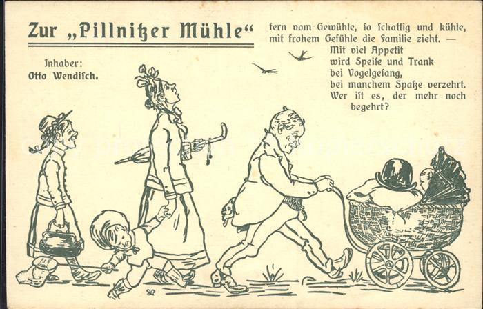 Pillnitz Zur Pillnitzer Muehle Karikatur Kat. Dresden