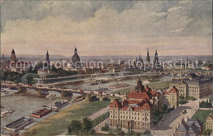 Dresden Zeppelin Ansicht der Ministerien und Altstadt Kat. Dresden Elbe