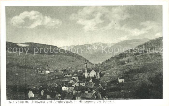 Stossweier Panorama mit Ampfersbach Schlucht Vogesen Kat. Stosswihr
