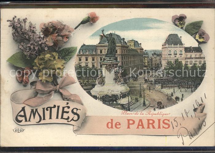 Paris Place de la Republique Monument Fleurs Kat. Paris