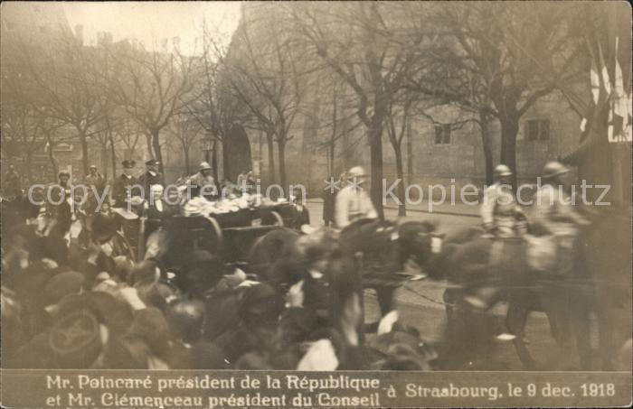 Strasbourg Alsace President Poincare et Clemenceau Kutsche Kat. Strasbourg