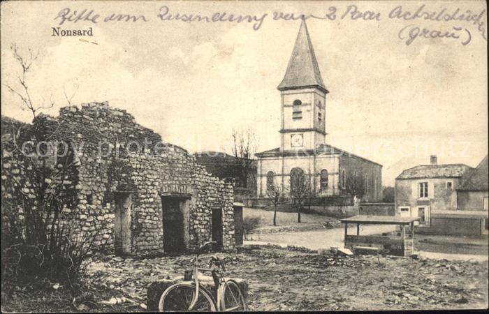 Nonsard Lamarche zerstoertes haus Kirche Westlicher Kriegsschauplatz Nr. 297 Kat. Nonsard Lamarche