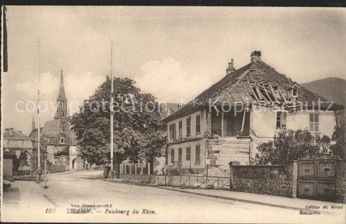 Thann Haut Rhin Elsass Faubourg du Rhin Eglise Ruines Grande Guerre 1. Weltkrieg Kat. Thann