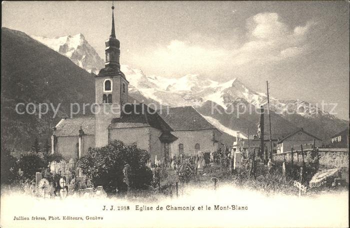 Chamonix Eglise et le Mont Blanc Kat. Chamonix Mont Blanc