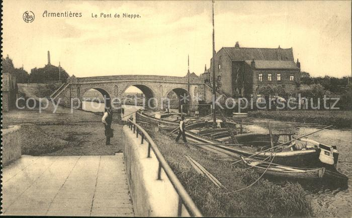 Armentieres Pont de Nieppe Bateau Kat. Armentieres