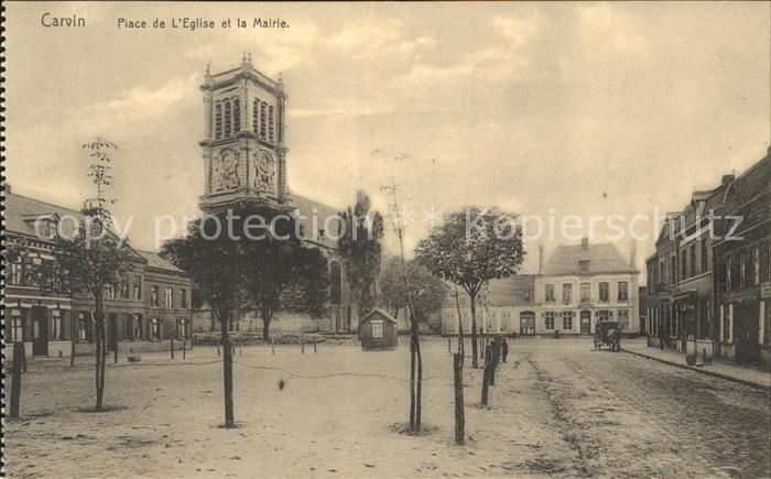 Carvin Place de l Eglise et la Mairie Kat. Carvin