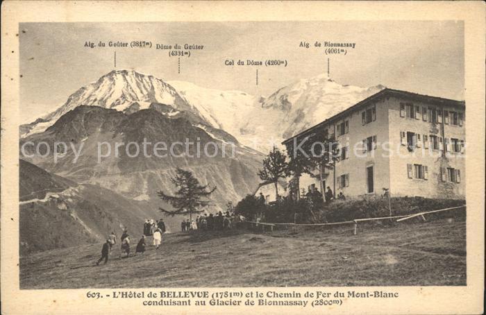 Chamonix Hotel de Bellevue Chemin du Fer du Mont Blanc Glacier de Bionnassay Kat. Chamonix Mont Blanc