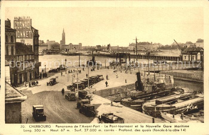 Cherbourg Octeville Basse Normandie Panorama Avant Port Pont tournant Nouvelle Gare Maritime Kat. Cherbourg Octeville