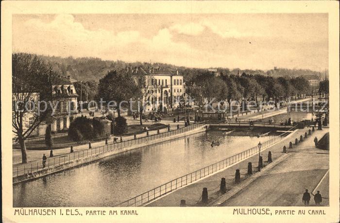 Mulhouse Muehlhausen Partie au Canal Kanal Kat. Mulhouse