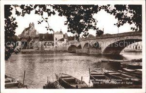 Villeneuve sur Yonne Bords de l Yonne Pont Eglise Kat. Villeneuve sur Yonne