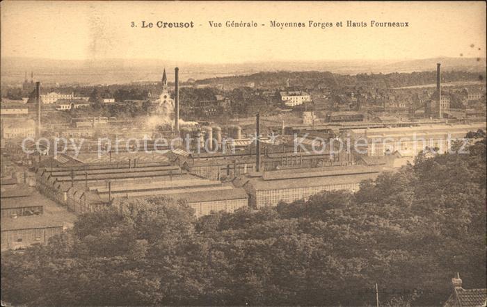 Le Creusot Saone et Loire Vue generale Moyennes Forges et Hauts Fourneaux Industrie Kat. Le Creusot