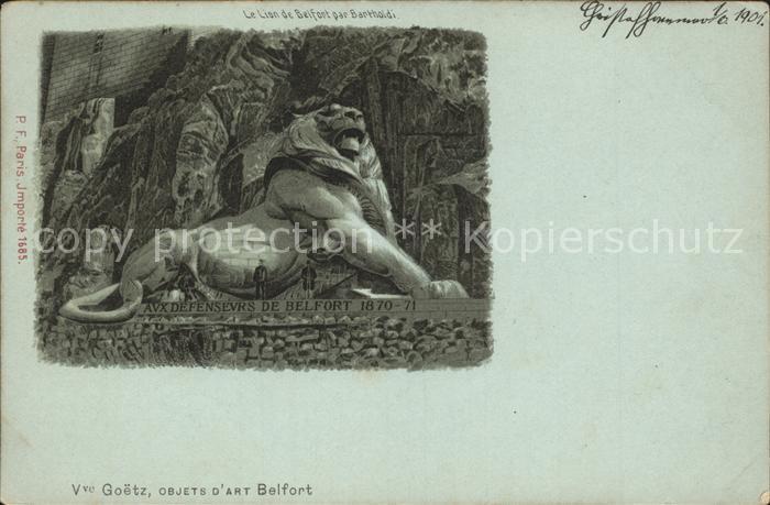 Belfort Alsace Le Lion de Belfort par Bartholdi Kat. Belfort