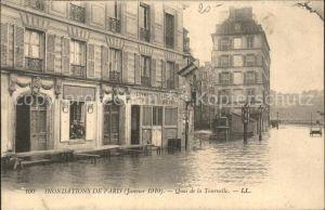 Paris Inondations Janvier 1910 Quai de la Tournelle Hochwasser Katastrophe Kat. Paris