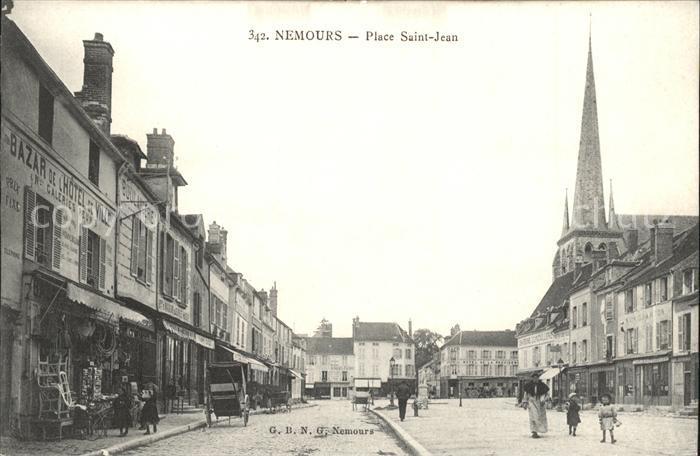 Nemours Seine et Marne Place Saint Jean Eglise Kat. Nemours