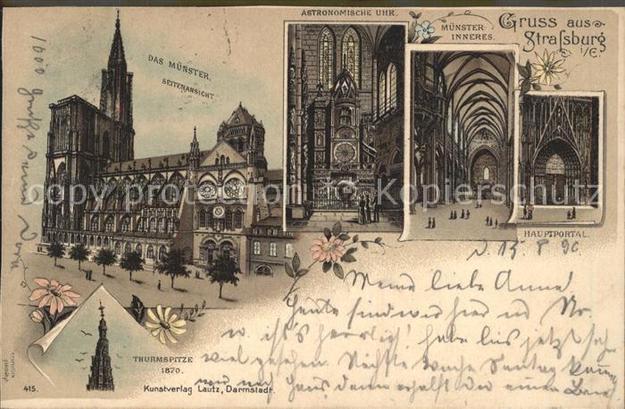 Strassburg Elsass Muenster Portal Astronomische Uhr Turmspitze Deutsche Reichspost Kat. Strasbourg