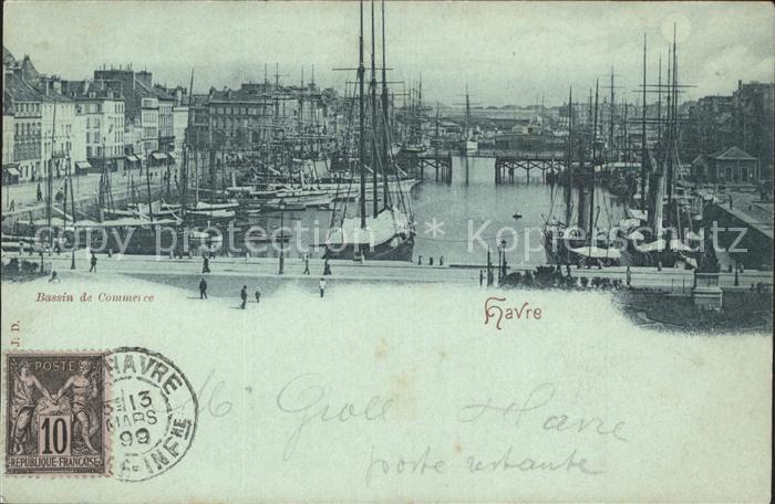 Havre Le Bassin de Commerce Bateaux Stempel auf AK Kat. Le Havre