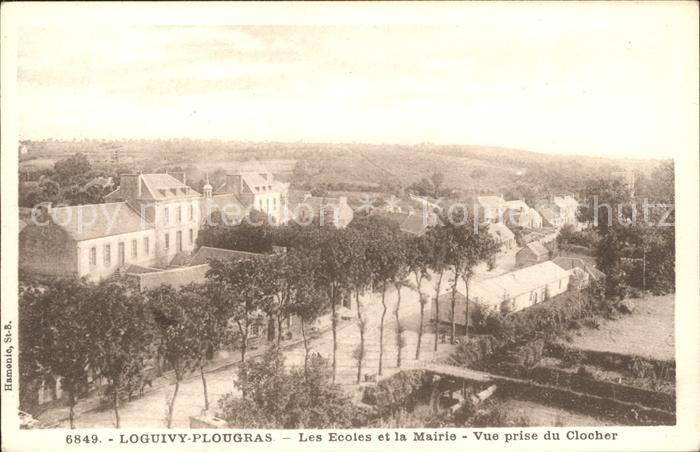 Loguivy Plougras Ecoles et la Mairie vue prise du Clocher Kat. Loguivy Plougras
