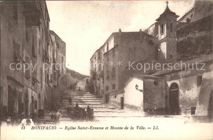 Bonifacio Corse du Sud Eglise Saint Erasme et Montee de la Ville Kat. Bonifacio