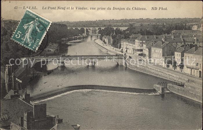 Laval Mayenne Pont Neuf et le Viaduc vue prise du Donjon du Chateau Kat. Laval