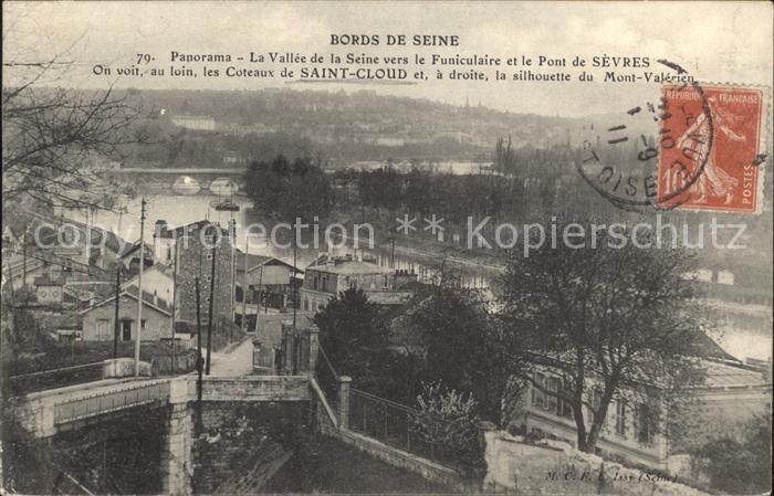 Saint Cloud Hauts de Seine Panorama Vallee de la Seine Funiculaire Pont de Sevres Kat. Saint Cloud