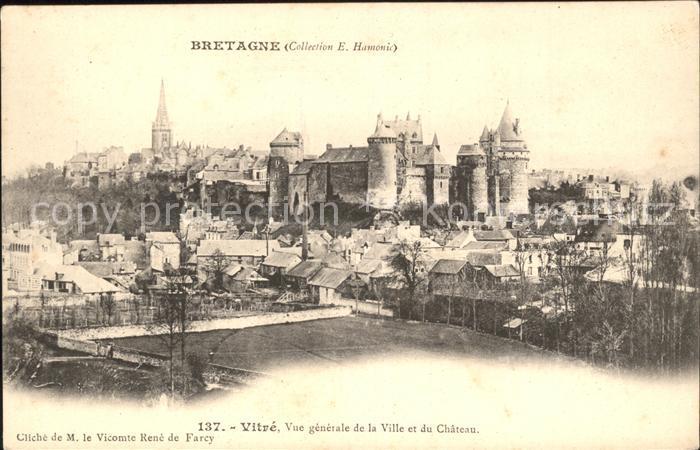 Vitre d Ille et Vilaine Vue generale de la Ville et du Chateau Kat. Vitre