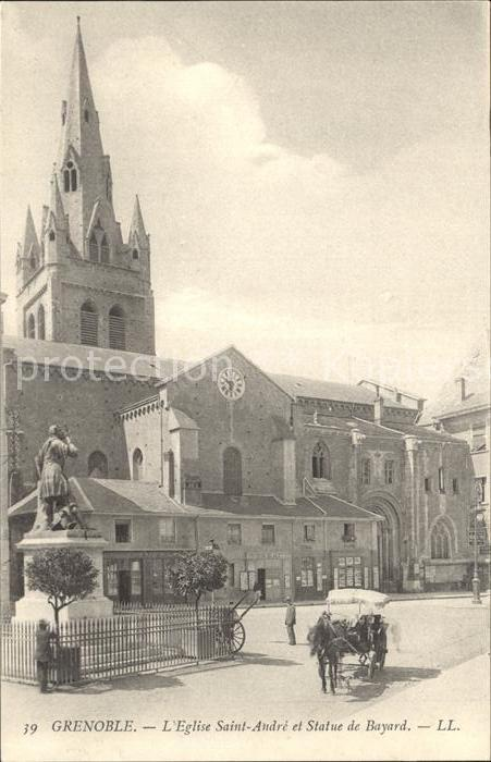 Grenoble Eglise Saint Andre et Statue de Bayard Monument Kat. Grenoble