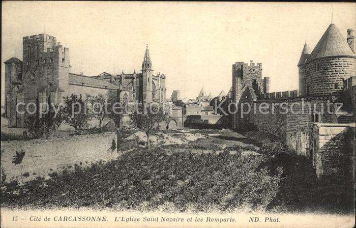 Carcassonne Eglise Saint Nazaire et les Remparts Kat. Carcassonne
