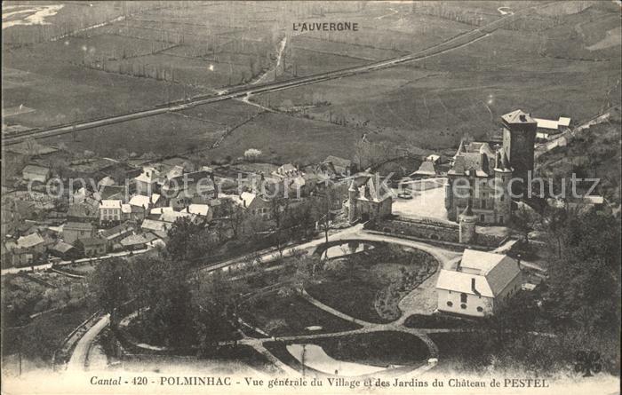 Polminhac Vue generale du Village Jardins du Chateau de Pestel Kat. Polminhac