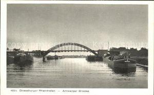 Strassburg Elsass Rheinhafen Antwerper Bruecke Frachtkahn Kat. Strasbourg
