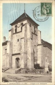 Armentieres Eglise et Monument Stempel auf AK Kat. Armentieres