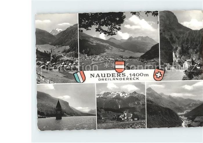 Nauders Tirol Panorama Ortsblick Kirchturmspitze im Wasser Kat. Nauders