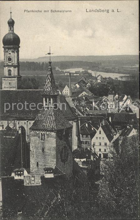 Landsberg Lech Pfarrkirche mit Schmalzturm Kat. Landsberg am Lech