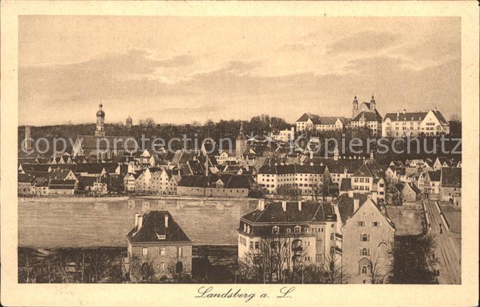 Landsberg Lech Altstadt mit Kirche Kat. Landsberg am Lech