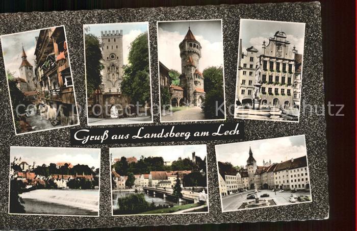 Landsberg Lech Teilansichten Turm Tor Marktplatz Brunnen Lech Bruecke Kat. Landsberg am Lech