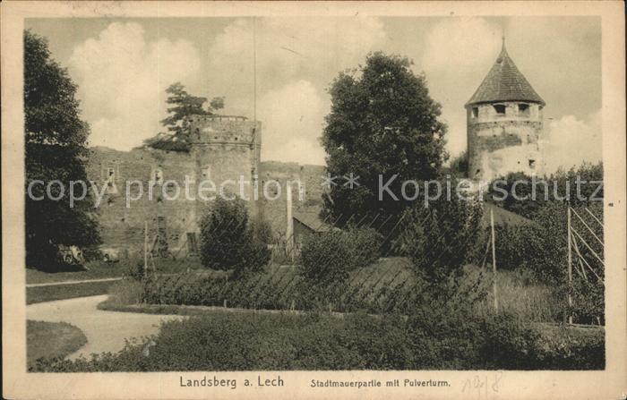 Landsberg Lech Stadtmauer mit Pulverturm Kat. Landsberg am Lech