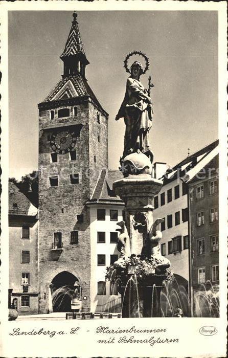 Landsberg Lech Marienbrunnen mit Schmalzturm Kat. Landsberg am Lech