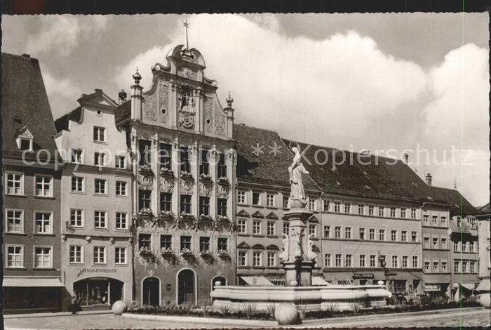 Landsberg Lech Rathaus mit Marienbrunnen Kat. Landsberg am Lech