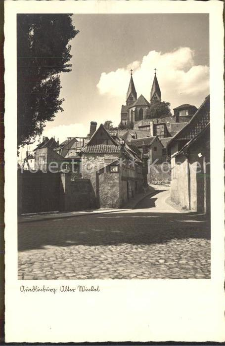 Quedlinburg Alter Winkel Blick zum Dom Kat. Quedlinburg